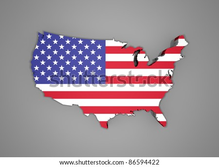 United States map with flag - 3d render