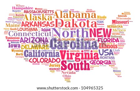 UNITED STATES map words cloud of major cities with a white background