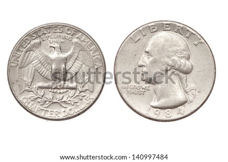 United States money. Quarter dollar coin. Obverse and reverse on white