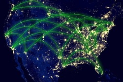 United States network night map earth from space. Elements of this image furnished by NASA.