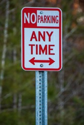 United States No Parking Any Time sign