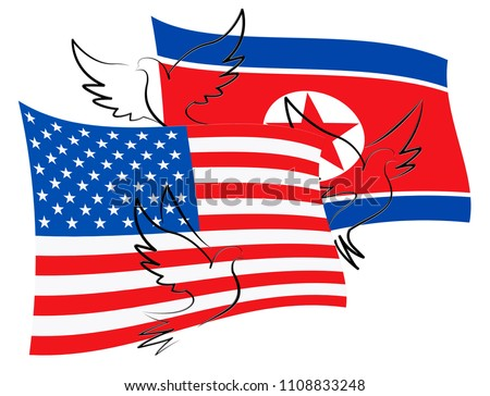 United States North Korean Peace Doves 3d Illustration. Pacifist Freedom And Denuclearization Accord Between Trump And Dprk Cooperation Talks
