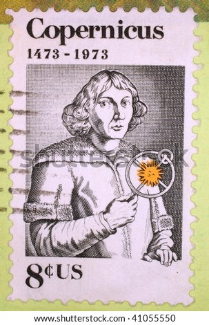 UNITED STATES OF AMERICA - 1973: A stamp printed in the United States of America shows image of Copernicus, the astronomer, series, 1973
