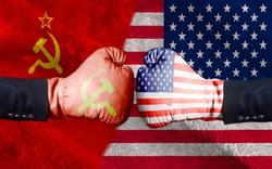 United States of America against USSR boxing gloves, USA vs. USSR concept half flags together