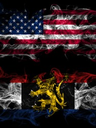 United States of America, America, US, USA, American vs Benelux smoky mystic flags placed side by side. Thick colored silky abstract smoke flags