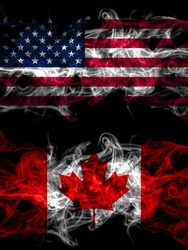 United States of America, America, US, USA, American vs Canada, Canadian smoky mystic flags placed side by side. Thick colored silky abstract smoke flags