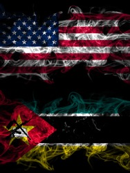 United States of America, America, US, USA, American vs Mozambique, Mozambican smoky mystic flags placed side by side. Thick colored silky abstract smoke flags