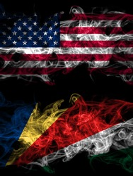United States of America, America, US, USA, American vs Seychelles, Seychellois smoky mystic flags placed side by side. Thick colored silky abstract smoke flags