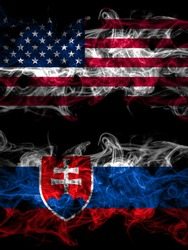 United States of America, America, US, USA, American vs Slovakia, Slovakian smoky mystic flags placed side by side. Thick colored silky abstract smoke flags