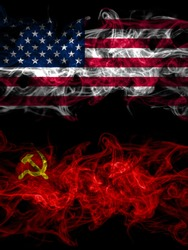 United States of America, America, US, USA, American vs USSR, Soviet, Russia, Russian, Communism smoky mystic flags placed side by side. Thick colored silky abstract smoke flags