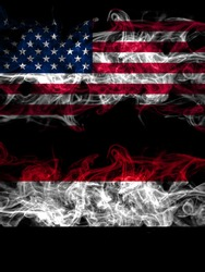 United States of America, America, US, USA, American vs Yemen, Yemeni smoky mystic flags placed side by side. Thick colored silky abstract smoke flags