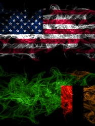 United States of America, America, US, USA, American vs Zambia, Zambian smoky mystic flags placed side by side. Thick colored silky abstract smoke flags
