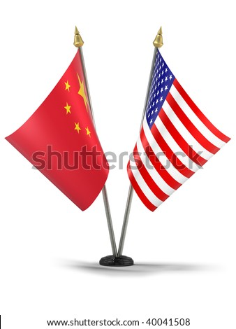 United States of America and China desktop flags (3d illustration)