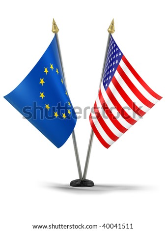 United States of America and Europe desktop flags (3d illustration)