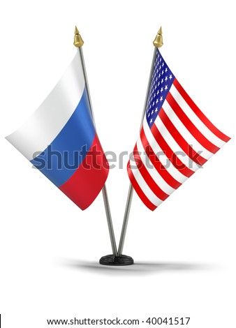 United States of America and Russia desktop flags (3d illustration)