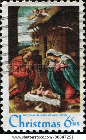 UNITED STATES OF AMERICA - CIRCA 1970: A Christmas stamp printed in the United States of America shows paint by Lorenzo Lotto - The Nativity, circa 1970