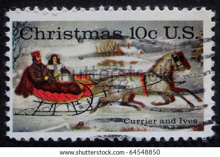 UNITED STATES OF AMERICA - CIRCA 1980: A greeting Christmas stamp printed in USA, circa 1980 - stock photo
