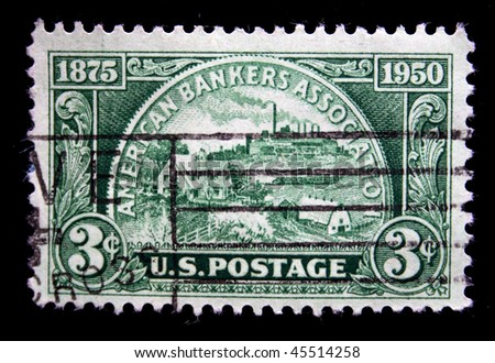 UNITED STATES OF AMERICA - CIRCA 1950: A greeting stamp printed in the United States of America devoted American Bankers Association, circa 1950