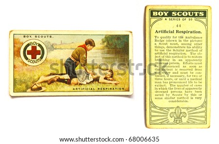UNITED STATES OF AMERICA - CIRCA 1970: A Postcard printed in the United States shows image Boy Scout make Artificial Respiration, circa 1970