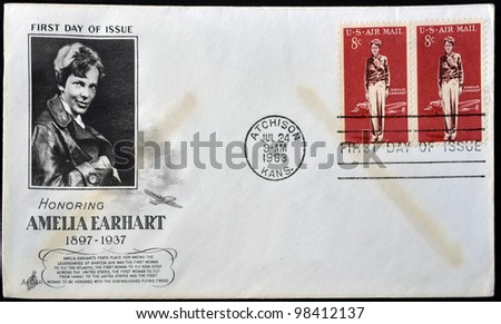 UNITED STATES OF AMERICA - CIRCA 1963: A postcard printed in USA shows Amelia Earhart, circa 1963 .