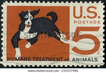 United States of America-Circa 1966: a stamp issued advocating for the humane treatment of animals.
