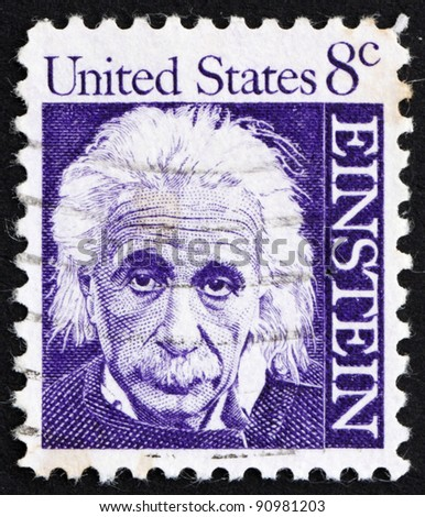 UNITED STATES OF AMERICA - CIRCA 1965: a stamp printed in the United States of America shows Albert Einstein, theoretical physicist who developed the theory of general relativity, circa 1965