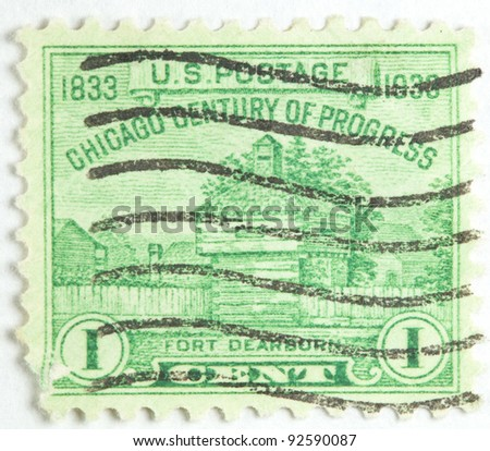 UNITED STATES OF AMERICA - CIRCA 1933: A stamp printed in the United States of America shows Fort Dearborn Chicago Century of Progress, now Chicago,  United States circa 1933