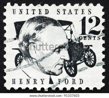 UNITED STATES OF AMERICA - CIRCA 1968: a stamp printed in the United States of America shows Henry Ford and car Ford Model T from 1909, circa 1968