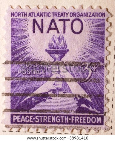 UNITED STATES OF AMERICA - CIRCA 1963: A stamp printed in the United States of America shows image celebrating the North Atlantic Treaty Organization series, circa 1963