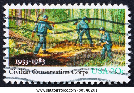 UNITED STATES OF AMERICA - CIRCA 1983: A stamp printed in the United States of America shows People Working in Forest, Civilian Conservation Corps, circa 1983