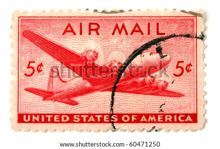 UNITED STATES OF AMERICA - CIRCA 1945: A stamp printed in the United States shows image of an aeroplane, series, circa 1945