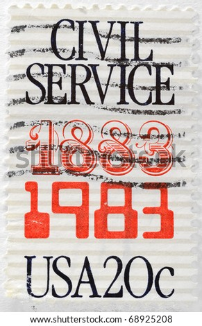 UNITED STATES OF AMERICA - CIRCA 1983: A stamp printed in the USA commemorates the 100th anniversary of the Civil Service, circa 1983
