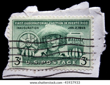 UNITED STATES OF AMERICA - CIRCA 1987: A stamp printed in the USA devoted First Gubernatorial election in Puerto Rico, circa 1987 - stock photo
