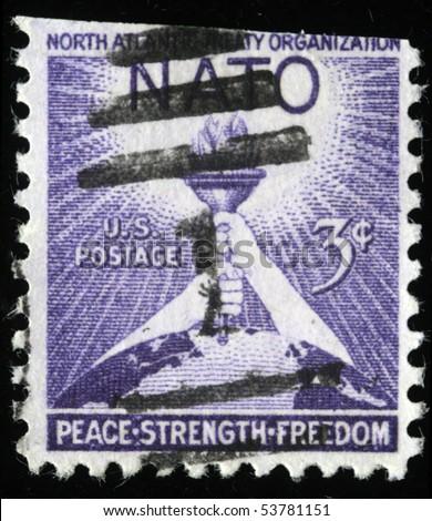 UNITED STATES OF AMERICA - CIRCA 1953: A stamp printed in the USA devoted North Atlantic Treaty Organization , circa 1953