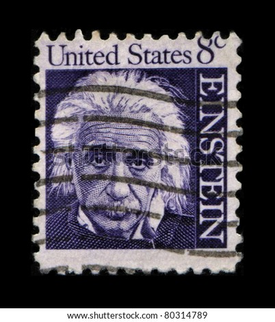UNITED STATES OF AMERICA - CIRCA 1966: A stamp printed in the USA shows Albert Einstein, circa 1966