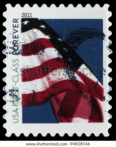 UNITED STATES OF AMERICA - CIRCA 2011: A stamp printed in the USA shows Flag on the sky, circa 2011
