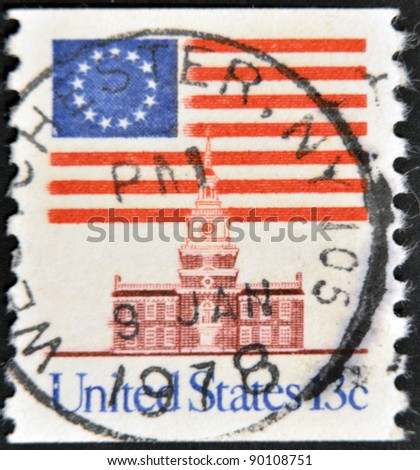 UNITED STATES OF AMERICA - CIRCA 1975: A stamp printed in the USA shows Flag Over Independence Hall, circa 1975