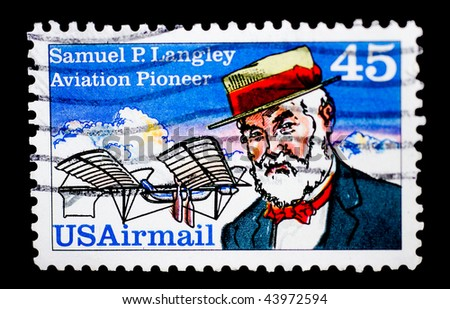 UNITED STATES OF AMERICA - CIRCA 1988: A stamp printed in the USA shows image of Samuel P. Langley, the aviation pioneer, circa 1988 - stock photo