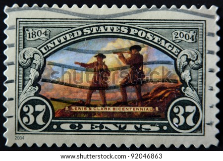 UNITED STATES OF AMERICA - CIRCA 2004: A stamp printed in the USA shows Lewis and Clark Expedition, Circa 2004