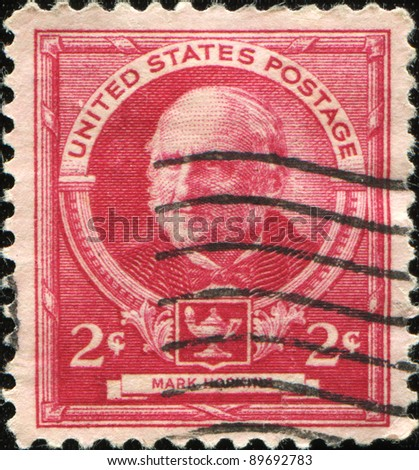 UNITED STATES OF AMERICA - CIRCA 1940: A stamp printed in the USA shows Mark Hopkins - American educator and theologian, circa 1940