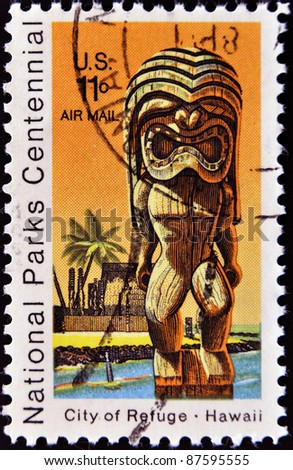 UNITED STATES OF AMERICA - CIRCA 1980: A stamp printed in the USA shows National Park on Hawaii - City of Refuge, circa 1980