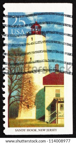 UNITED STATES OF AMERICA - CIRCA 1990: a stamp printed in the USA shows Sandy Hook, New Jersey, Lighthouse, circa 1990
