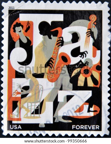 UNITED STATES OF AMERICA - CIRCA 2011: A stamp printed in USA dedicated to Jazz, circa 2011