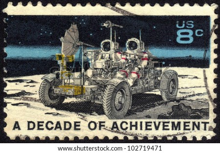 UNITED STATES OF AMERICA - CIRCA 1971: A stamp printed in USA dedicated to United States in Space, A decade of achievement, circa 1971