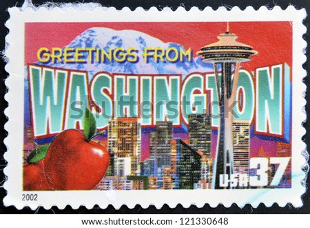 UNITED STATES OF AMERICA - CIRCA 2002: A stamp printed in USA dedicated to Washington, circa 2002
