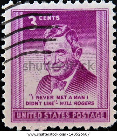 "UNITED STATES OF AMERICA - CIRCA 1948 - A stamp printed in USA showing William Penn Adair ""Will"" Rogers, ""I never met a man I didn´t like"", circa 1948"