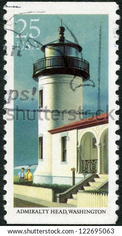 UNITED STATES OF AMERICA - CIRCA 1990: A stamp printed in USA shows Admiralty Head, Washington, series Lighthouses, circa 1990