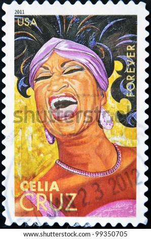 UNITED STATES OF AMERICA - CIRCA 2011: A stamp printed in USA shows Celia Cruz, circa 2011