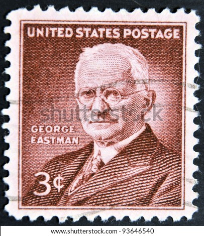 UNITED STATES OF AMERICA - CIRCA 1954: a stamp printed in USA shows George Eastman, photography pioneer, inventor and philanthropist, circa 1954