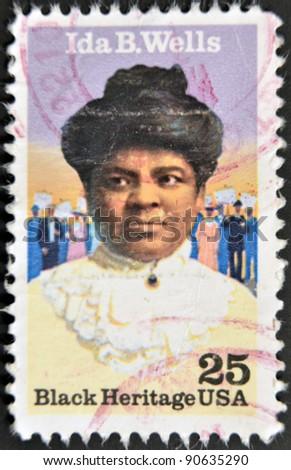 UNITED STATES OF AMERICA - CIRCA 1990: A stamp printed in USA shows Ida B. Wells, black heritage serie, circa 1990